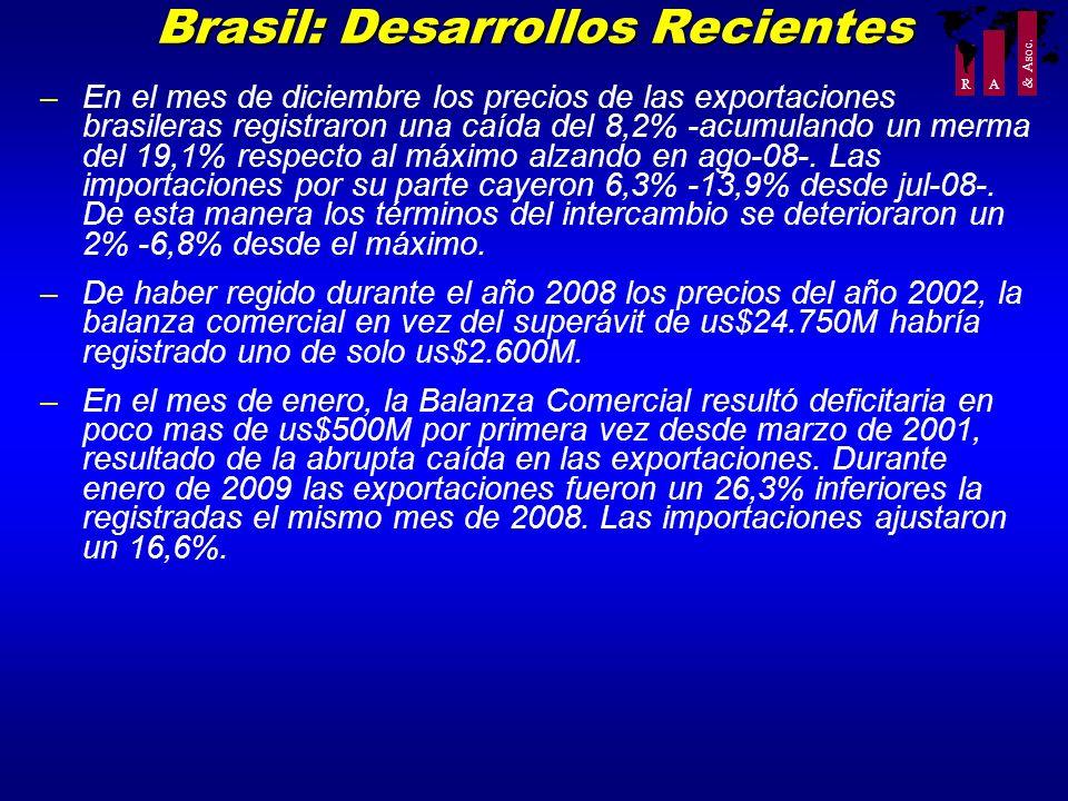 R A & Asoc. Brasil: Desarrollos Recientes –En el mes de diciembre los precios de las exportaciones brasileras registraron una caída del 8,2% -acumulan