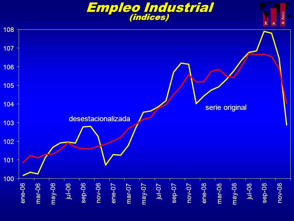 R A & Asoc. Empleo Industrial (indices) 100 101 102 103 104 105 106 107 108 ene-06 mar-06 may-06 jul-06 sep-06nov-06 ene-07 mar-07 may-07 jul-07 sep-0