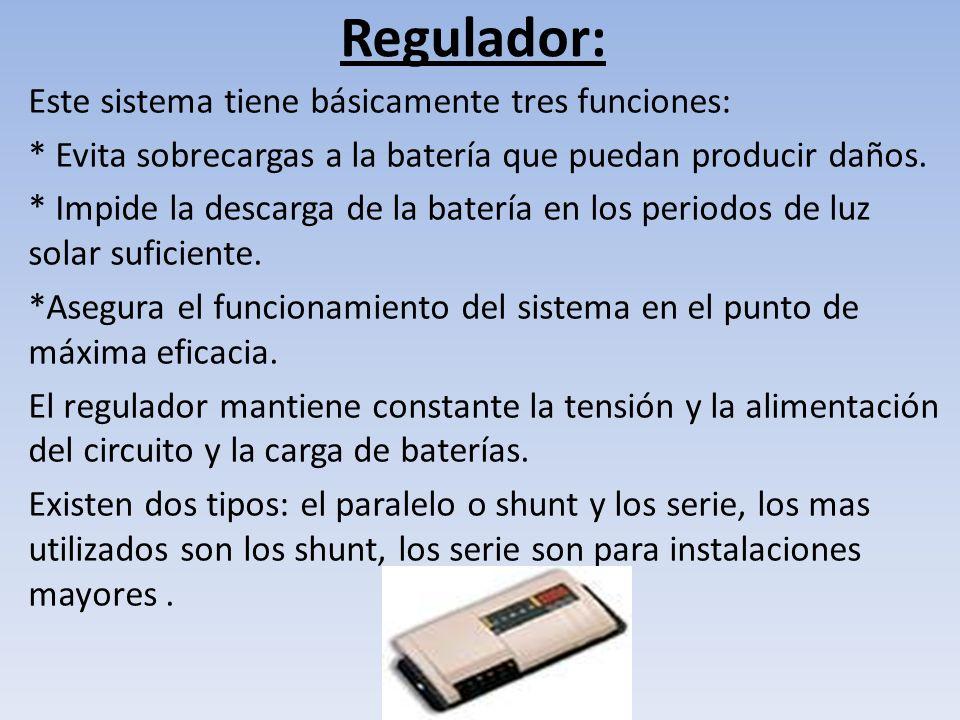Corte por alto voltaje Después de un tiempo el voltaje de la batería tiende a disminuir, cuando este voltaje es igual al de conexión de recarga (13.5 voltios) el controlador vuelve a cerrar el circuito Panel-Batería, este proceso suele repetirse varias veces durante días soleados.