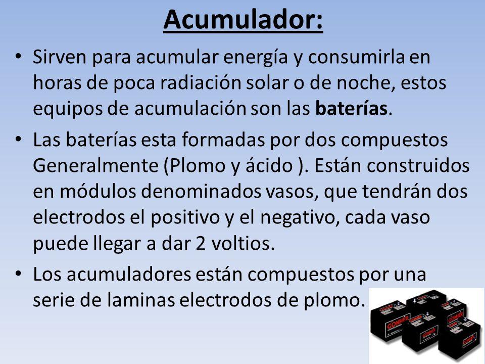 Regulador: Este sistema tiene básicamente tres funciones: * Evita sobrecargas a la batería que puedan producir daños.