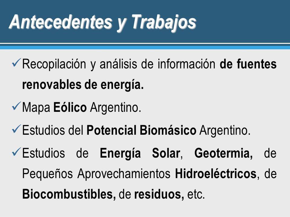 Antecedentes y Trabajos Recopilación y análisis de información de fuentes renovables de energía. Mapa Eólico Argentino. Estudios del Potencial Biomási