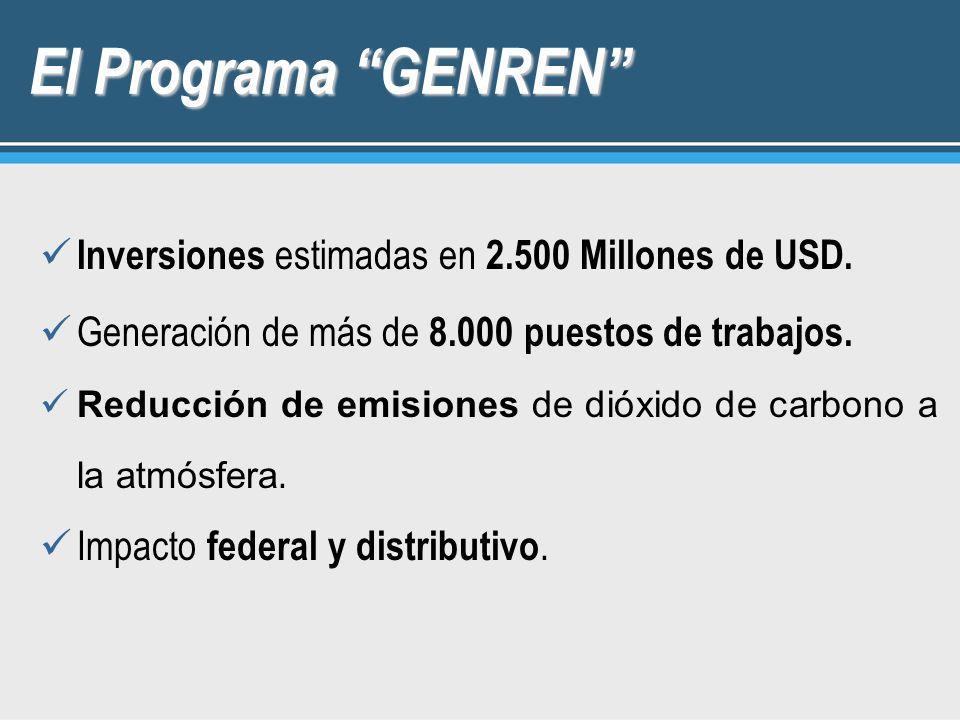 El Programa GENREN Inversiones estimadas en 2.500 Millones de USD. Generación de más de 8.000 puestos de trabajos. Reducción de emisiones de dióxido d