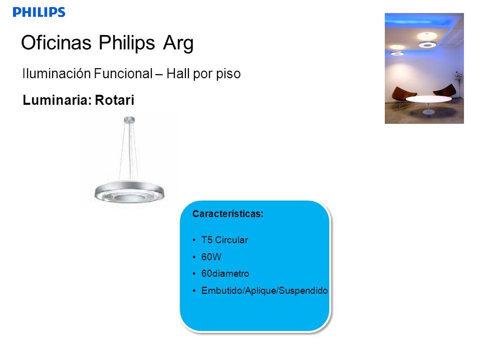 SEGMENTO Oficinas Philips Arg Iluminación Funcional – Hall por piso Luminaria: Rotari