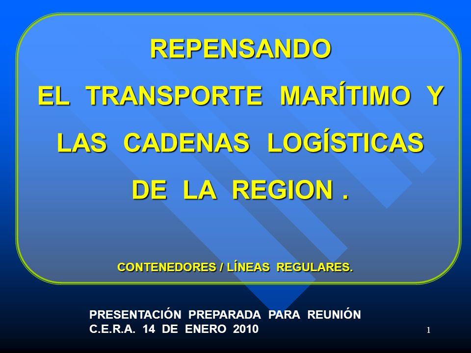 1 REPENSANDO EL TRANSPORTE MARÍTIMO Y LAS CADENAS LOGÍSTICAS DE LA REGION. PRESENTACIÓN PREPARADA PARA REUNIÓN C.E.R.A. 14 DE ENERO 2010 CONTENEDORES