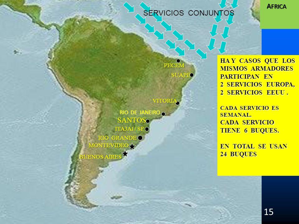 SUAPE SANTOS 15 RIO DE JANEIRO ITAJAI / SF VITORIA PECEM A FRICA A FRICA HA Y CASOS QUE LOS MISMOS ARMADORES PARTICIPAN EN 2 SERVICIOS EUROPA, 2 SERVI