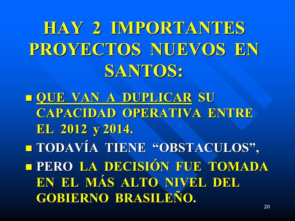 HAY 2 IMPORTANTES PROYECTOS NUEVOS EN SANTOS: QUE VAN A DUPLICAR SU CAPACIDAD OPERATIVA ENTRE EL 2012 y 2014. QUE VAN A DUPLICAR SU CAPACIDAD OPERATIV