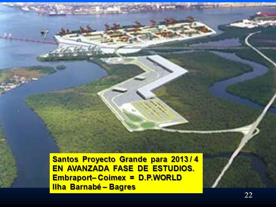 Santos Proyecto Grande para 2013 / 4 EN AVANZADA FASE DE ESTUDIOS. Embraport– Coimex = D.P.WORLD Ilha Barnabé – Bagres 22