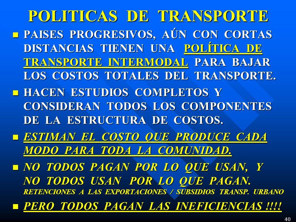 POLITICAS DE TRANSPORTE PAISES PROGRESIVOS, AÚN CON CORTAS DISTANCIAS TIENEN UNA POLÍTICA DE TRANSPORTE INTERMODAL PARA BAJAR LOS COSTOS TOTALES DEL T