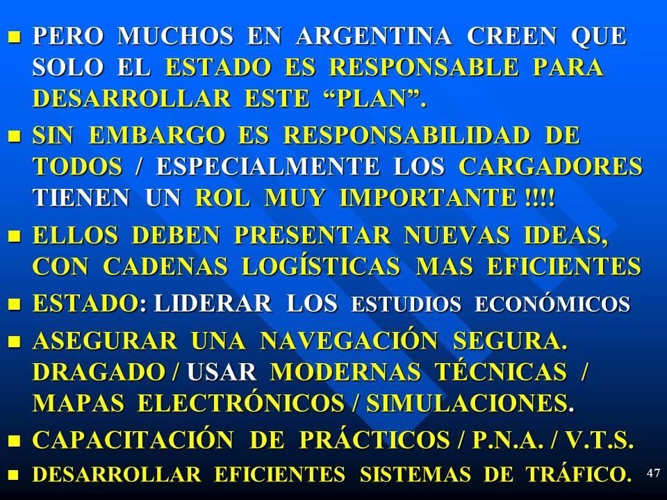 PERO MUCHOS EN ARGENTINA CREEN QUE SOLO EL ESTADO ES RESPONSABLE PARA DESARROLLAR ESTE PLAN. PERO MUCHOS EN ARGENTINA CREEN QUE SOLO EL ESTADO ES RESP
