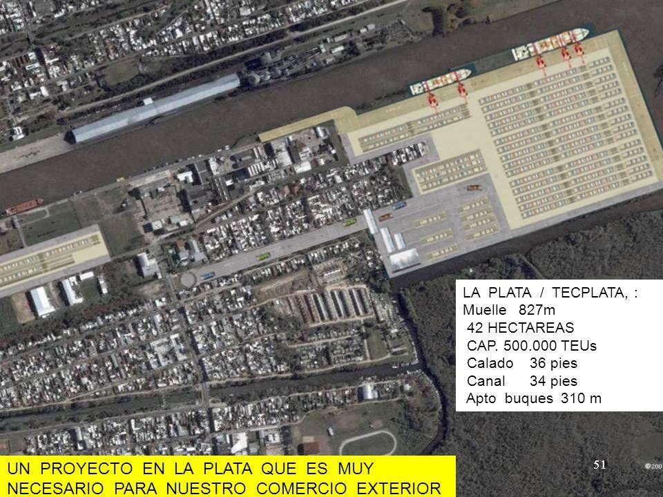 Area de Terminales – Cabecera Este (Berisso) LA PLATA / TECPLATA, : Muelle 827m 42 HECTAREAS CAP. 500.000 TEUs Calado 36 pies Canal 34 pies Apto buque