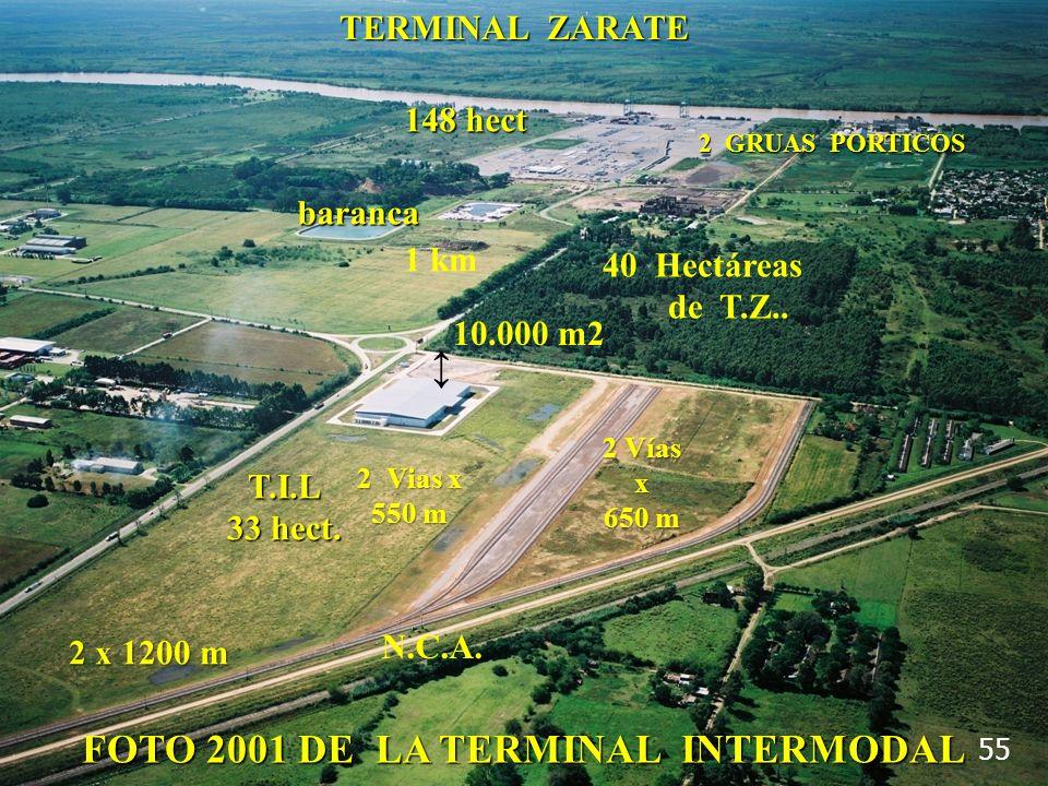 FOTO 2001 DE LA TERMINAL INTERMODAL 55 T.I.L 33 hect. 10.000 m2 2 Vías x 650 m N.C.A. 1 km baranca 2 Vias x 550 m 2 x 1200 m 148 hect TERMINAL ZARATE