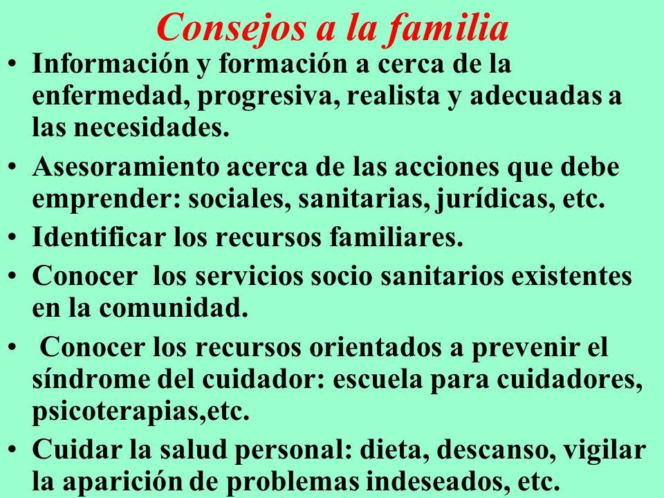 Consejos a la familia Información y formación a cerca de la enfermedad, progresiva, realista y adecuadas a las necesidades. Asesoramiento acerca de la