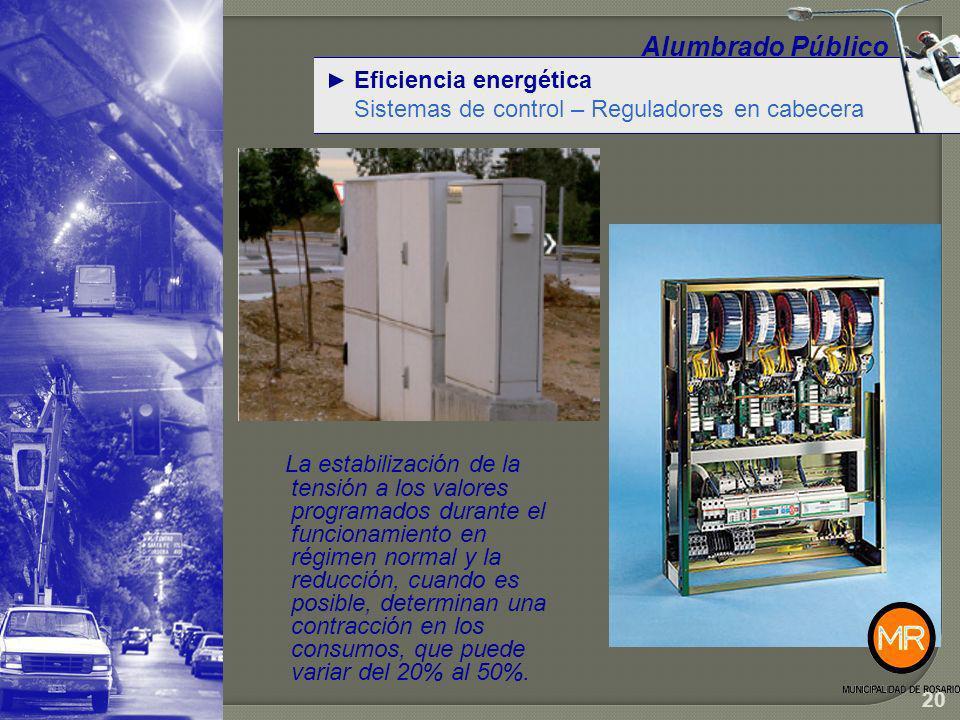 Eficiencia energética Reguladores en cabecera – Datos de campo Alumbrado Público 21