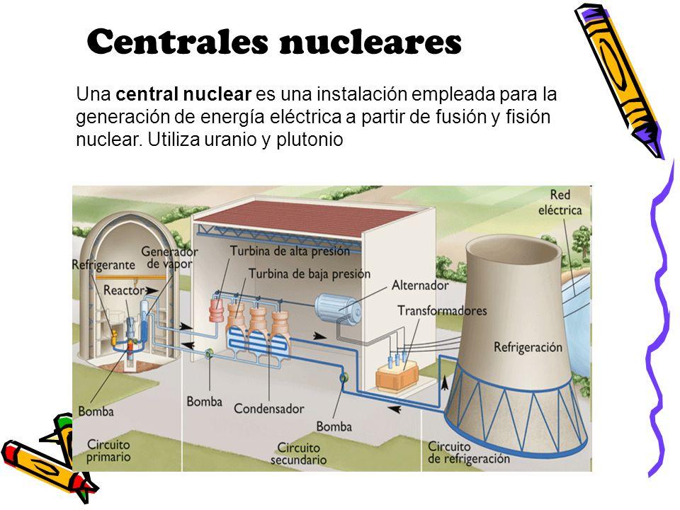 Centrales nucleares Una central nuclear es una instalación empleada para la generación de energía eléctrica a partir de fusión y fisión nuclear. Utili