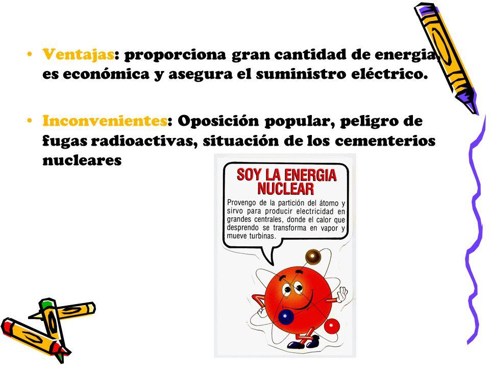 Ventajas: proporciona gran cantidad de energia, es económica y asegura el suministro eléctrico. Inconvenientes: Oposición popular, peligro de fugas ra