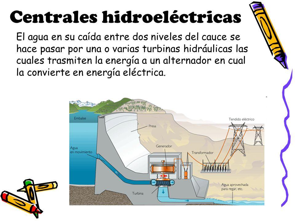 Centrales hidroeléctricas El agua en su caída entre dos niveles del cauce se hace pasar por una o varias turbinas hidráulicas las cuales trasmiten la