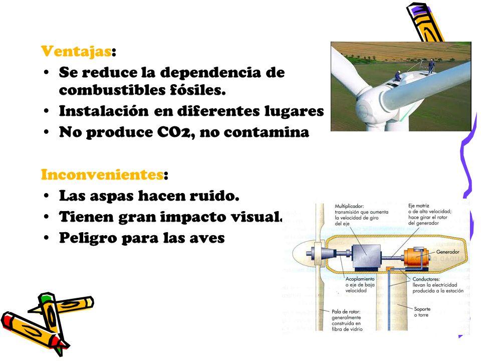 Ventajas: Se reduce la dependencia de combustibles fósiles. Instalación en diferentes lugares No produce CO2, no contamina Inconvenientes: Las aspas h