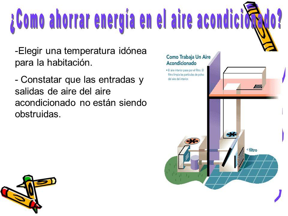 -Elegir una temperatura idónea para la habitación. - Constatar que las entradas y salidas de aire del aire acondicionado no están siendo obstruidas.