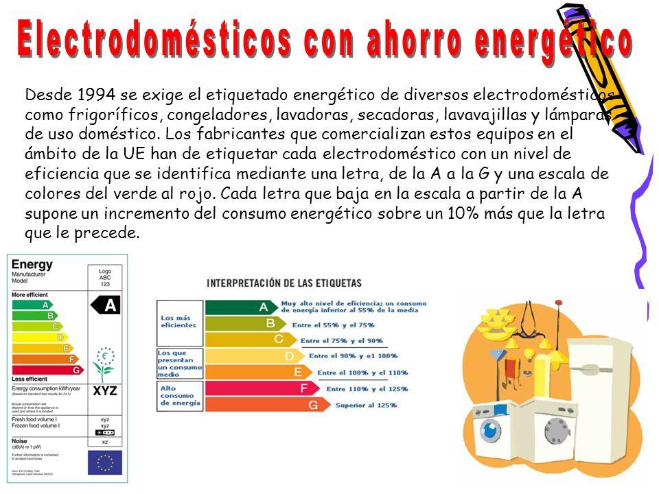 Desde 1994 se exige el etiquetado energético de diversos electrodomésticos como frigoríficos, congeladores, lavadoras, secadoras, lavavajillas y lámpa