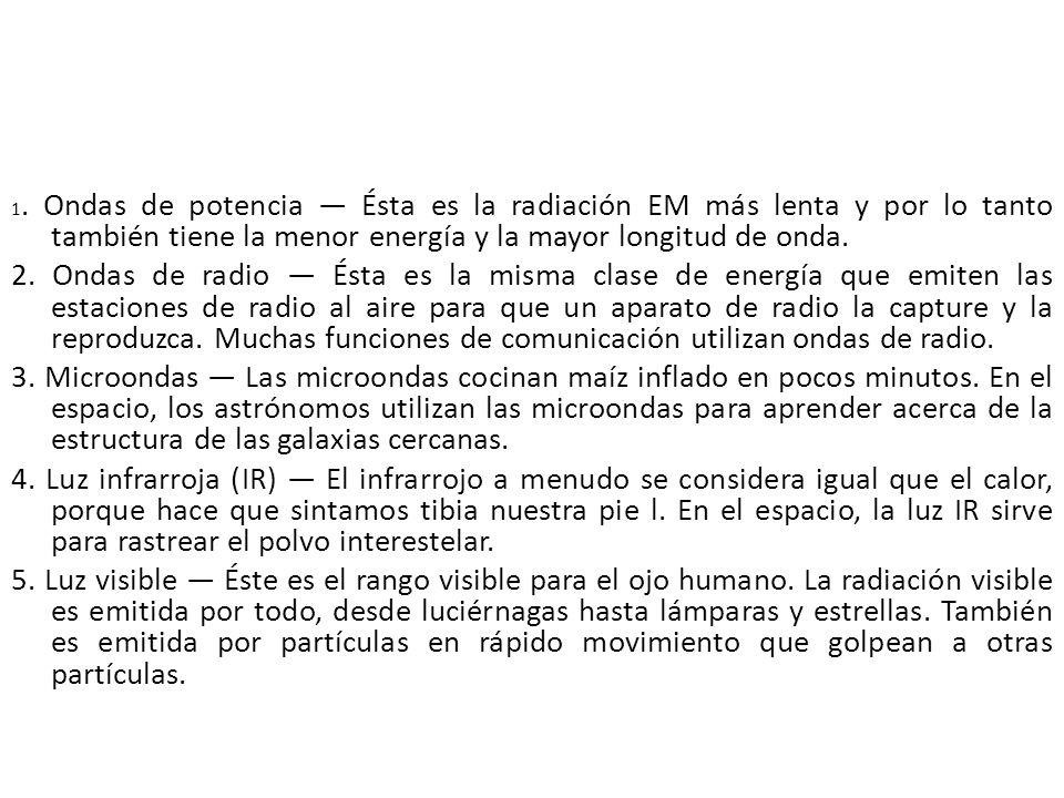 1. Ondas de potencia Ésta es la radiación EM más lenta y por lo tanto también tiene la menor energía y la mayor longitud de onda. 2. Ondas de radio És