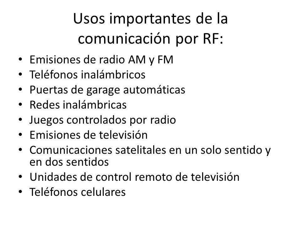 Usos importantes de la comunicación por RF: Emisiones de radio AM y FM Teléfonos inalámbricos Puertas de garage automáticas Redes inalámbricas Juegos