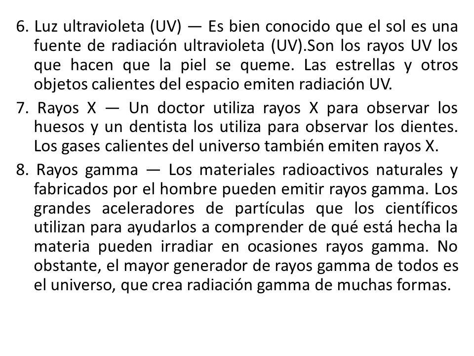 6. Luz ultravioleta (UV) Es bien conocido que el sol es una fuente de radiación ultravioleta (UV).Son los rayos UV los que hacen que la piel se queme.