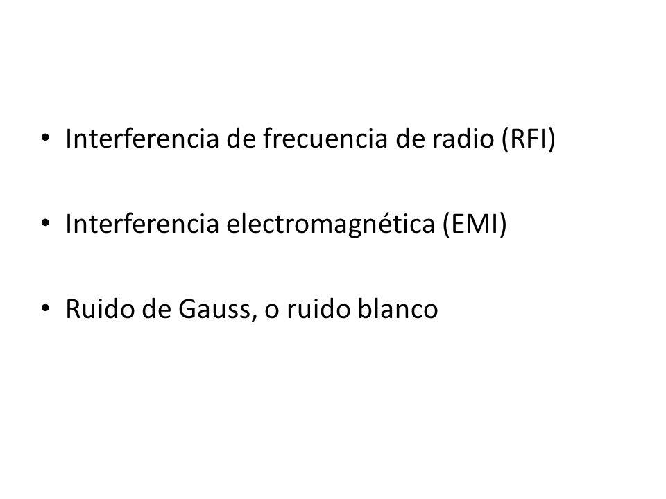 Interferencia de frecuencia de radio (RFI) Interferencia electromagnética (EMI) Ruido de Gauss, o ruido blanco