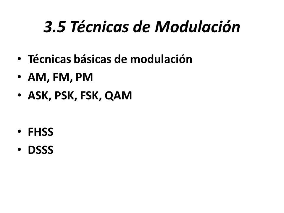 3.5 Técnicas de Modulación Técnicas básicas de modulación AM, FM, PM ASK, PSK, FSK, QAM FHSS DSSS