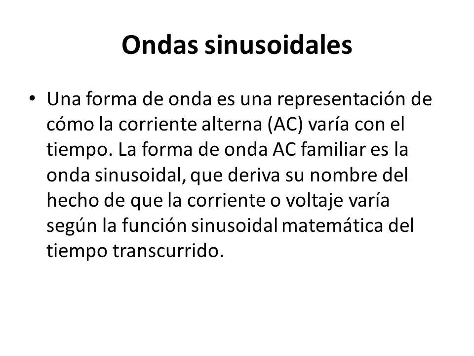 Ondas sinusoidales Una forma de onda es una representación de cómo la corriente alterna (AC) varía con el tiempo. La forma de onda AC familiar es la o