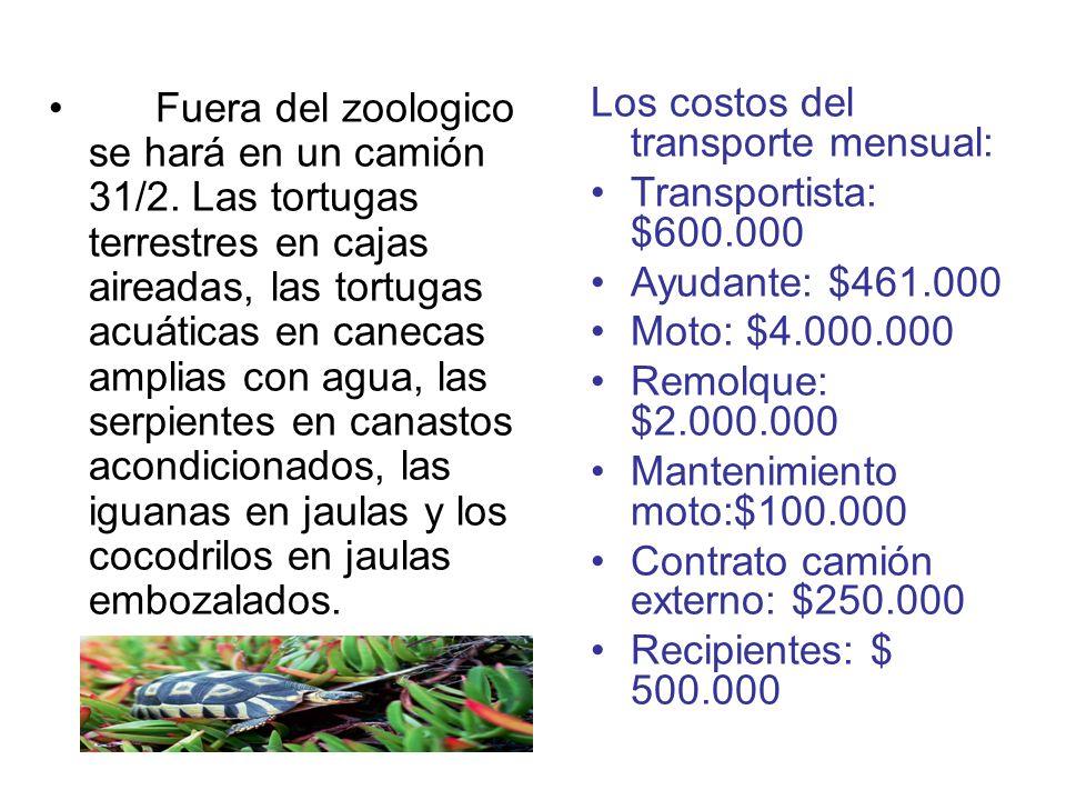 Fuera del zoologico se hará en un camión 31/2. Las tortugas terrestres en cajas aireadas, las tortugas acuáticas en canecas amplias con agua, las serp