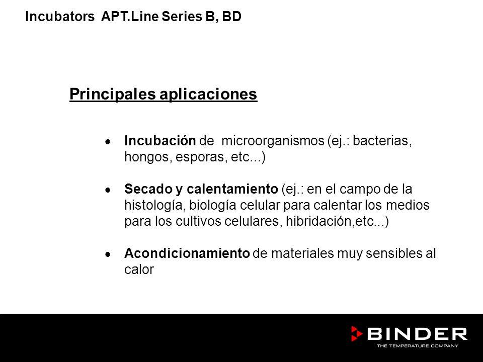 Principales aplicaciones Incubación de microorganismos (ej.: bacterias, hongos, esporas, etc...) Secado y calentamiento (ej.: en el campo de la histol