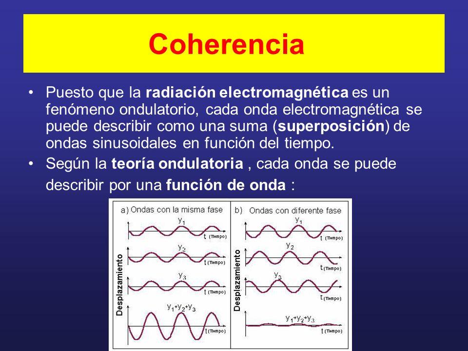Coherencia Puesto que la radiación electromagnética es un fenómeno ondulatorio, cada onda electromagnética se puede describir como una suma (superposición) de ondas sinusoidales en función del tiempo.