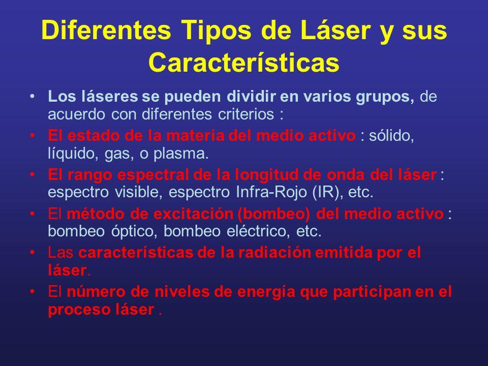 Diferentes Tipos de Láser y sus Características Los láseres se pueden dividir en varios grupos, de acuerdo con diferentes criterios : El estado de la materia del medio activo : sólido, líquido, gas, o plasma.