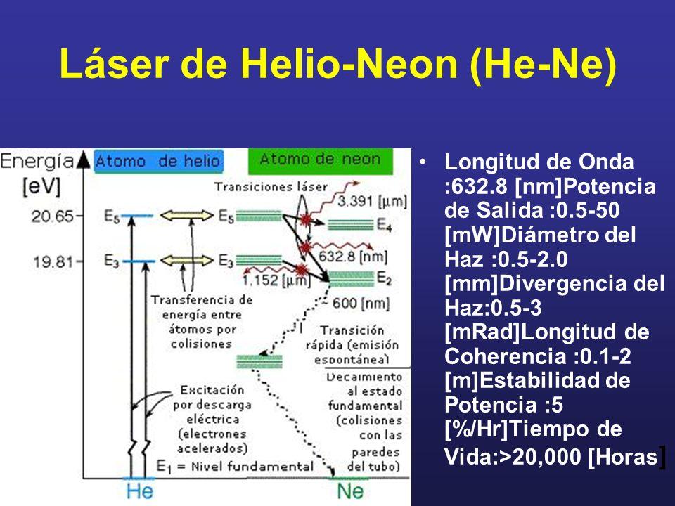 Láser de Helio-Neon (He-Ne) Longitud de Onda :632.8 [nm]Potencia de Salida :0.5-50 [mW]Diámetro del Haz :0.5-2.0 [mm]Divergencia del Haz:0.5-3 [mRad]L