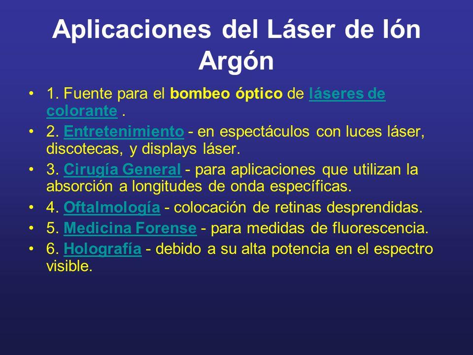 Aplicaciones del Láser de Ión Argón 1. Fuente para el bombeo óptico de láseres de colorante.láseres de colorante 2. Entretenimiento - en espectáculos