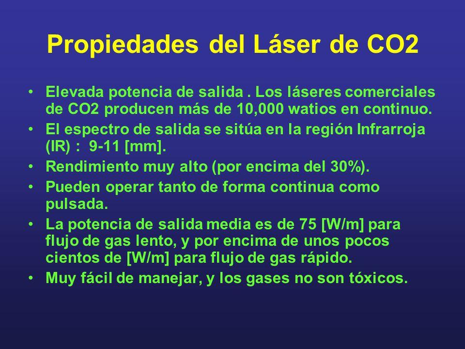 Propiedades del Láser de CO2 Elevada potencia de salida. Los láseres comerciales de CO2 producen más de 10,000 watios en continuo. El espectro de sali