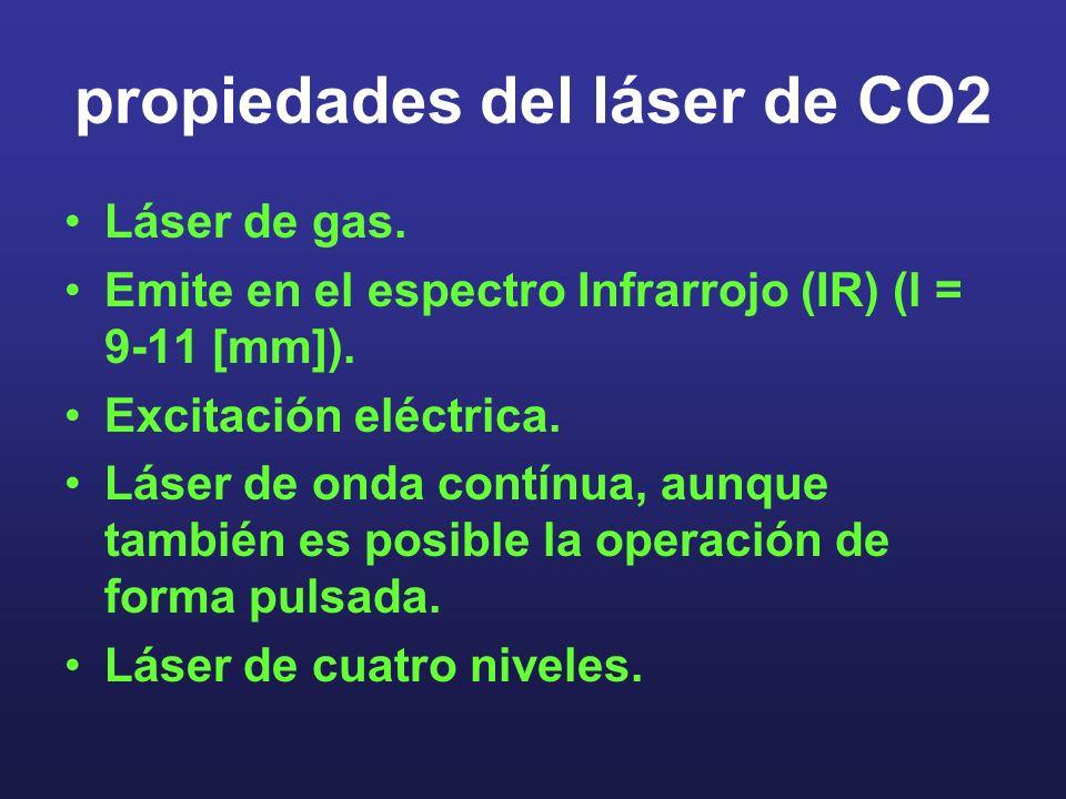 propiedades del láser de CO2 Láser de gas. Emite en el espectro Infrarrojo (IR) (l = 9-11 [mm]). Excitación eléctrica. Láser de onda contínua, aunque