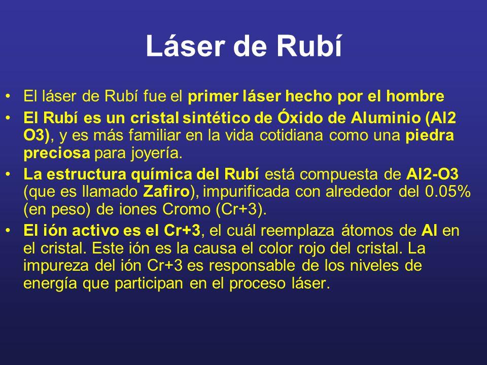 Láser de Rubí El láser de Rubí fue el primer láser hecho por el hombre El Rubí es un cristal sintético de Óxido de Aluminio (Al2 O3), y es más familiar en la vida cotidiana como una piedra preciosa para joyería.