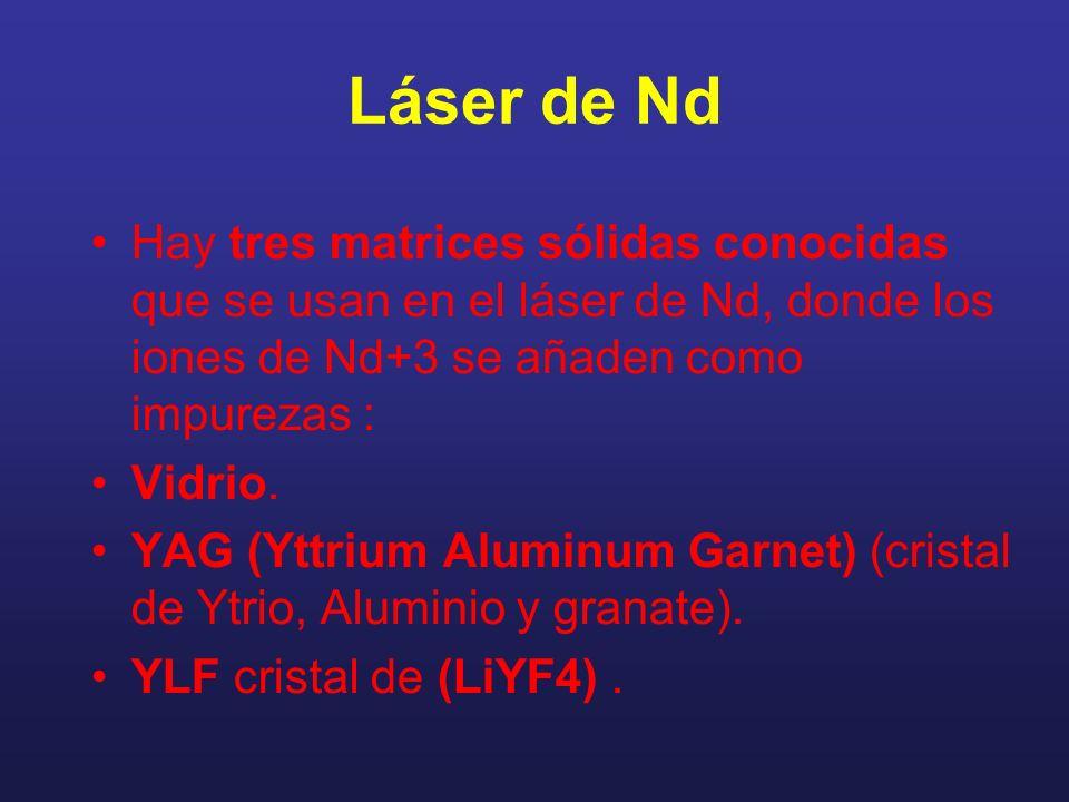 Hay tres matrices sólidas conocidas que se usan en el láser de Nd, donde los iones de Nd+3 se añaden como impurezas : Vidrio. YAG (Yttrium Aluminum Ga