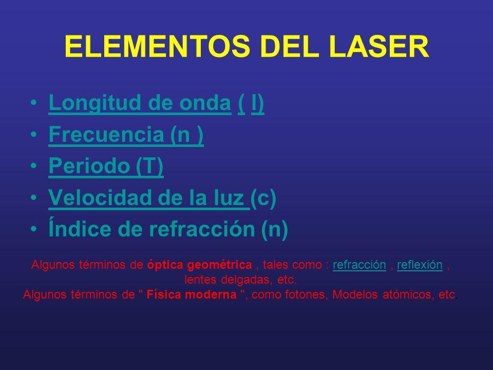 ELEMENTOS DEL LASER Longitud de onda ( l)Longitud de onda(l) Frecuencia (n ) Periodo (T) Velocidad de la luz (c)Velocidad de la luz Índice de refracción (n) Algunos términos de óptica geométrica, tales como : refracción, reflexión, lentes delgadas, etc.refracciónreflexión Algunos términos de Física moderna , como fotones, Modelos atómicos, etc.