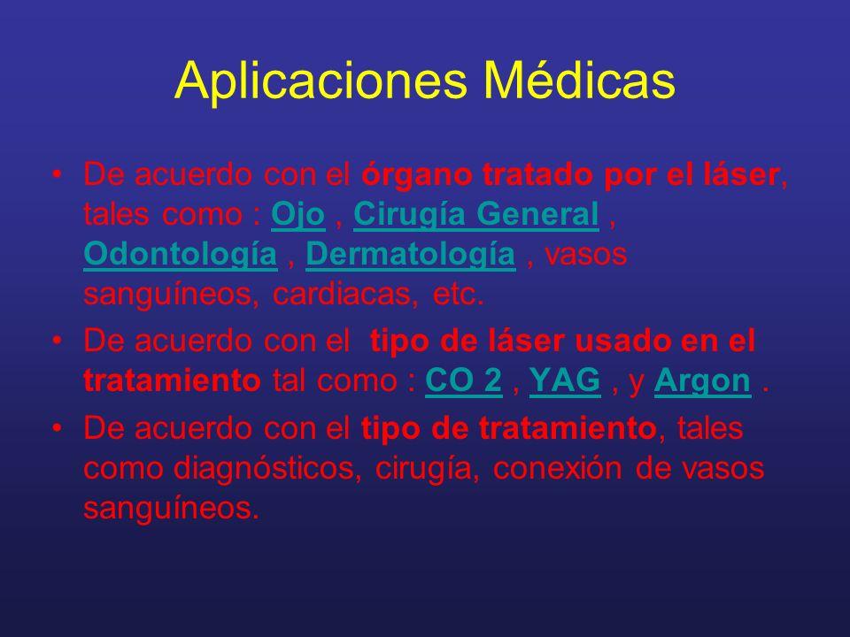 Aplicaciones Médicas De acuerdo con el órgano tratado por el láser, tales como : Ojo, Cirugía General, Odontología, Dermatología, vasos sanguíneos, cardiacas, etc.OjoCirugía General OdontologíaDermatología De acuerdo con el tipo de láser usado en el tratamiento tal como : CO 2, YAG, y Argon.CO 2YAGArgon De acuerdo con el tipo de tratamiento, tales como diagnósticos, cirugía, conexión de vasos sanguíneos.