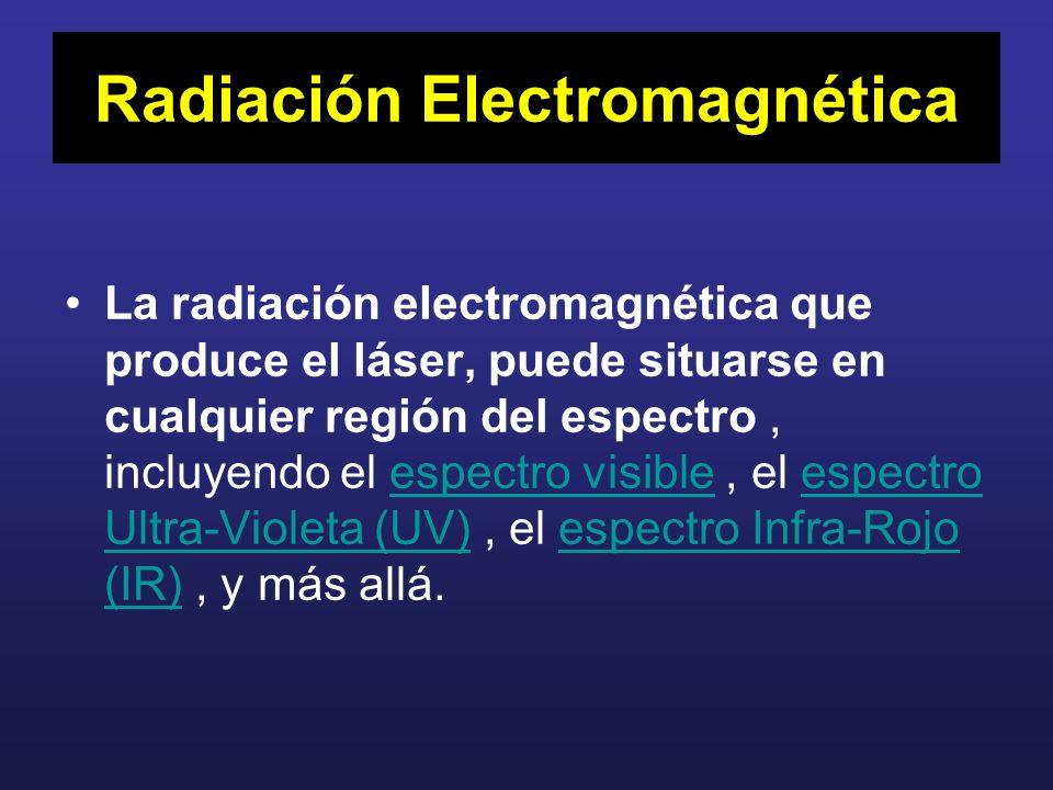 Radiación Electromagnética La radiación electromagnética que produce el láser, puede situarse en cualquier región del espectro, incluyendo el espectro