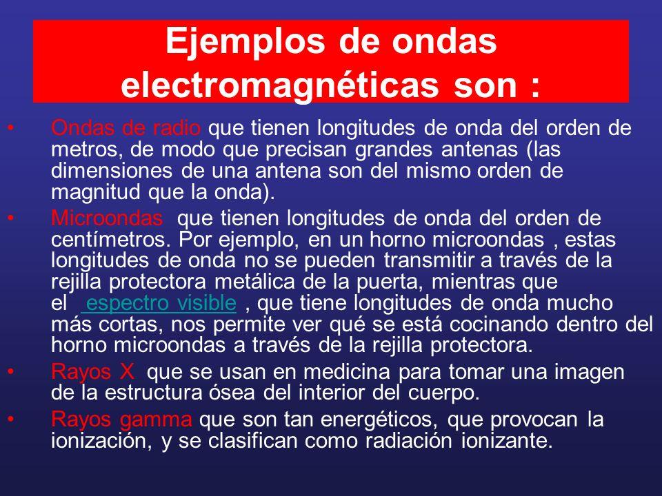 Ejemplos de ondas electromagnéticas son : Ondas de radio que tienen longitudes de onda del orden de metros, de modo que precisan grandes antenas (las