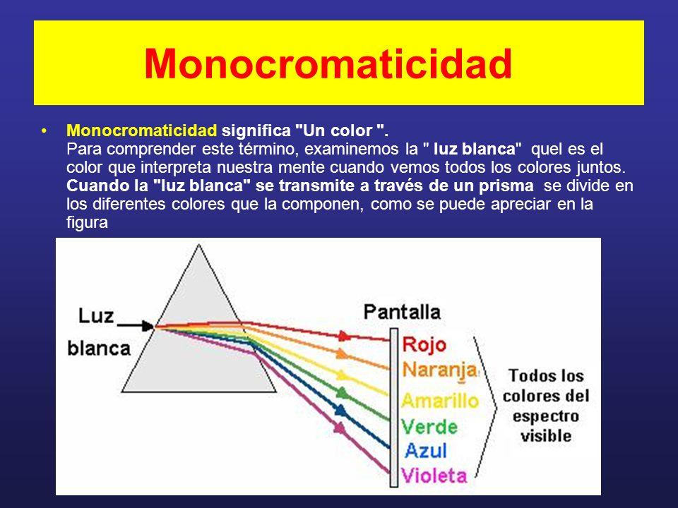 Monocromaticidad Monocromaticidad significa Un color .