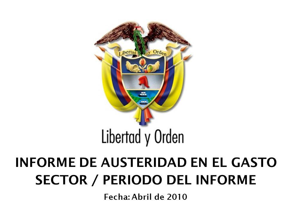 Presidencia de la República de Colombia 04 de Mayo de 2014 -12 Alta Consejería Presidencial Informe de Austeridad en el Gasto Gastos de funcionamiento por entidades Conclusiones de la Entidad SUELDOS DE PERSONAL: Durante el primer trimestre de 2010 por sueldos de personal la entidad contabiliz ó la suma de $9.002 millones, frente al mismo periodo de 2009 la suma de $8.765, present á ndose un incremento de $237 millones, con una variaci ó n positiva del 2.70%, originada por la contabilizaci ó n de ajustes por descuentos de nomina y la contabilizaci ó n del gastos mensual de la nomina fundamentado en el mayor cubrimiento de la planta de personal.