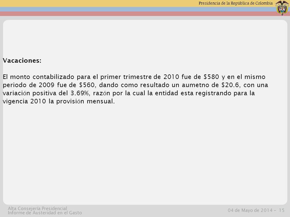 Presidencia de la República de Colombia 04 de Mayo de 2014 -15 Alta Consejería Presidencial Informe de Austeridad en el Gasto Vacaciones: El monto contabilizado para el primer trimestre de 2010 fue de $580 y en el mismo periodo de 2009 fue de $560, dando como resultado un aumetno de $20.6, con una variaci ó n positiva del 3.69%, raz ó n por la cual la entidad esta registrando para la vigencia 2010 la provisi ó n mensual.