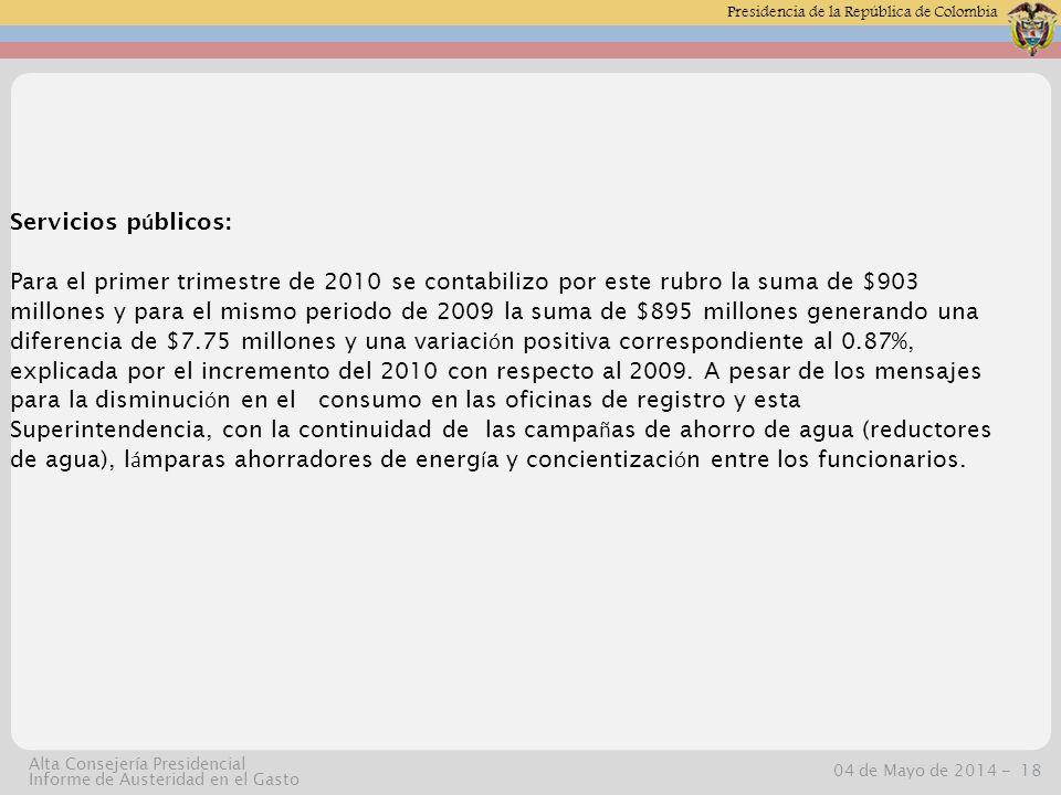 Presidencia de la República de Colombia 04 de Mayo de 2014 -18 Alta Consejería Presidencial Informe de Austeridad en el Gasto Servicios p ú blicos: Para el primer trimestre de 2010 se contabilizo por este rubro la suma de $903 millones y para el mismo periodo de 2009 la suma de $895 millones generando una diferencia de $7.75 millones y una variaci ó n positiva correspondiente al 0.87%, explicada por el incremento del 2010 con respecto al 2009.