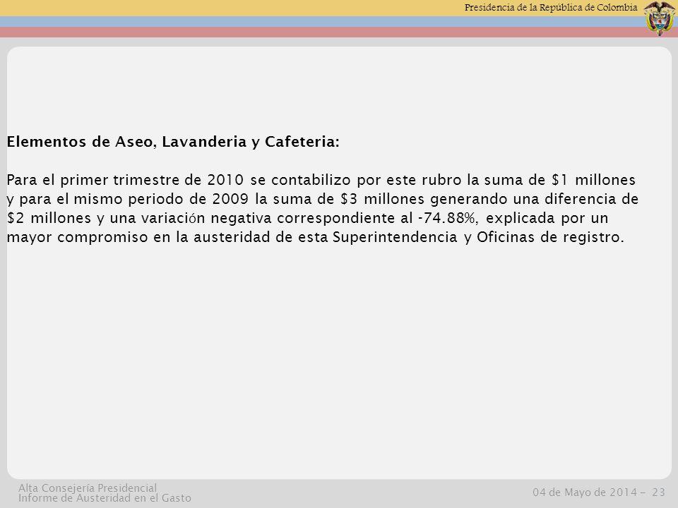 Presidencia de la República de Colombia 04 de Mayo de 2014 -23 Alta Consejería Presidencial Informe de Austeridad en el Gasto Elementos de Aseo, Lavanderia y Cafeteria: Para el primer trimestre de 2010 se contabilizo por este rubro la suma de $1 millones y para el mismo periodo de 2009 la suma de $3 millones generando una diferencia de $2 millones y una variaci ó n negativa correspondiente al -74.88%, explicada por un mayor compromiso en la austeridad de esta Superintendencia y Oficinas de registro.