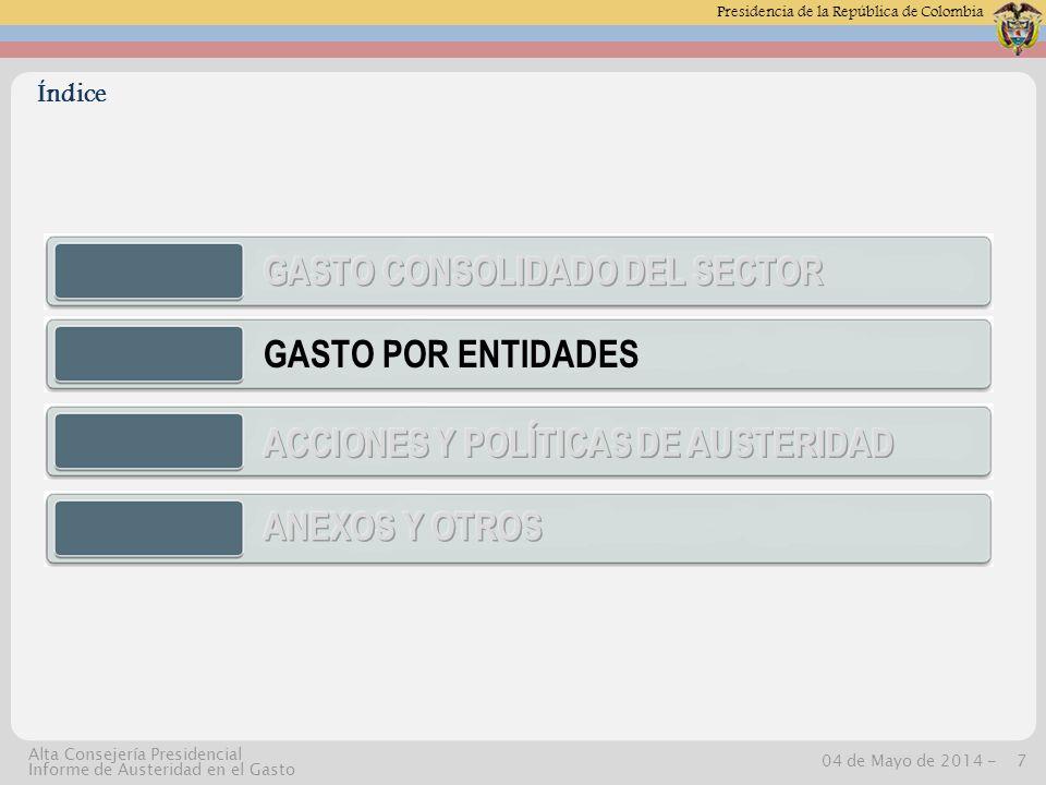 Presidencia de la República de Colombia 04 de Mayo de 2014 -8 Alta Consejería Presidencial Informe de Austeridad en el Gasto Detalle Planta y contratos por entidad