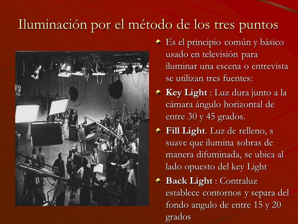 Iluminación por el método de los tres puntos Es el principio común y básico usado en televisión para iluminar una escena o entrevista se utilizan tres fuentes: Key Light : Luz dura junto a la cámara ángulo horizontal de entre 30 y 45 grados.